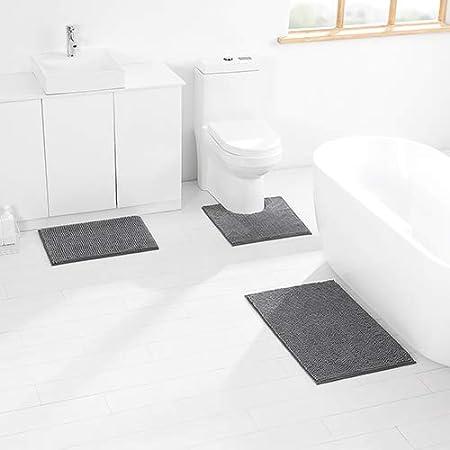 Shower Durable Soft Bath Rugs Non Slip Washable for Tub Bathroom Super Absorbent Luxury Shaggy Chenille Bath Mats Set Short, Dark Blue KINMEGO 3 Pieces Bathroom Rugs Set