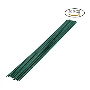 "Purture 2 Gauge Floral Wire, Gum-Wrapped Bouquet Stem Wire, 2mm Diameter 16"" Length, Pack of 50, Dark Green"