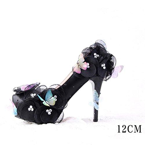 QPYC Mesdames talon haut fleurs de papillon chaussures de mari