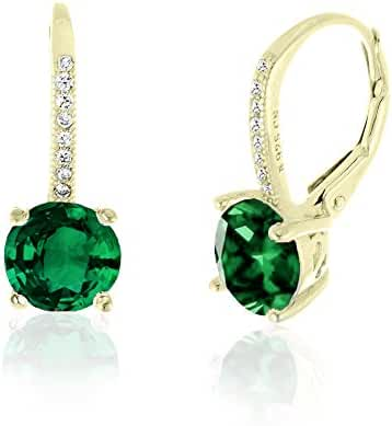 SPECIAL OFFER Sterling Silver Round Sapphire Ruby Emerald Drop Leverback Earrings