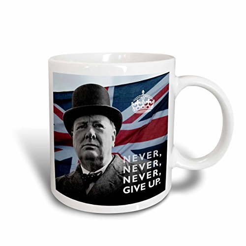 3dRose mug_220216_2 Winston Churchill- Never Give Up Quotation over Union Jack Background - Ceramic Mug, 15-ounce (Churchill Winston Mug)