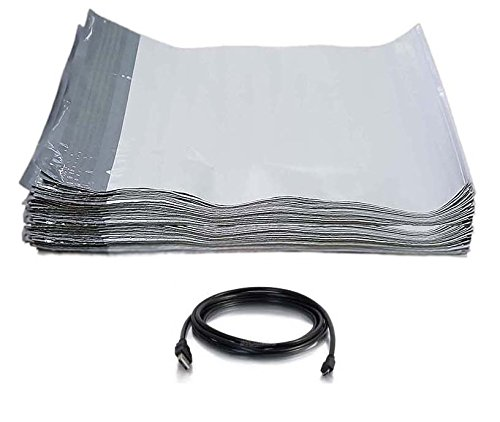 (iMBAPrice 200 - 9x12 White POLY MAILERS ENVELOPES BAGS + Free USB Cable (Value Pack))