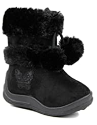 Kali Footwear Little Girl's Zello GlitterPom Pom Boots