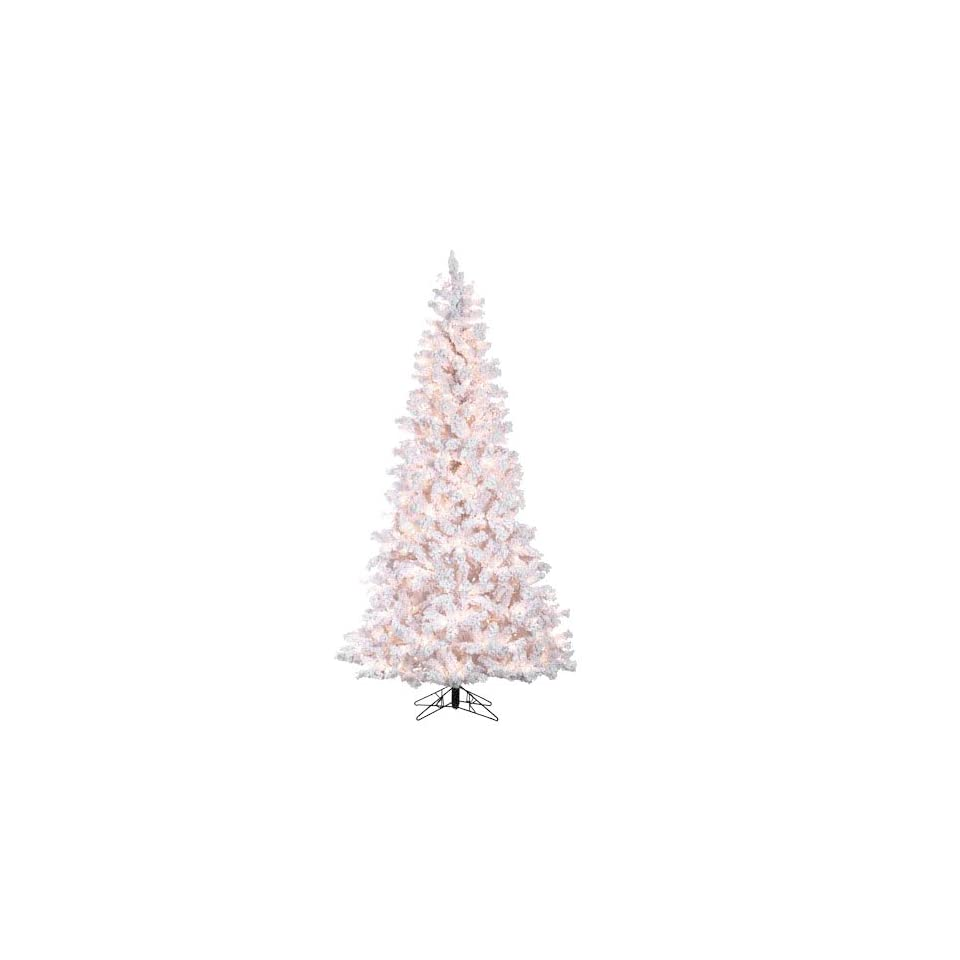 7.5 Pre Lit Deluxe Flocked White Pine Artificial Christmas Tree   Clear Lights
