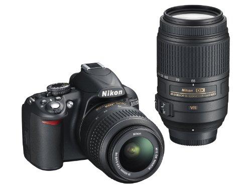 ニコン D3100 ブラック ダブルズームキット AFS DXニッコール1855mm f3.55.6G VR AFS DXニッコール55300mm f4.55.6G ED VRの商品画像