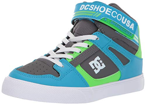DC Boys' Pure HIGH-TOP EV Sneaker Grey/Green/Blue 2.5 M M US Little Kid