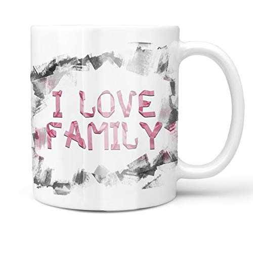 Neonblond 11oz Coffee Mug I Love Family Pink Ribbon with your Custom Name