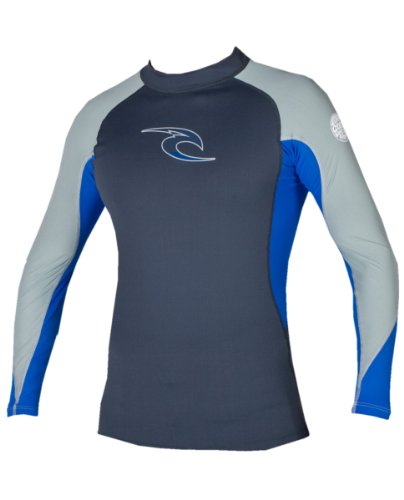 Rip Curl Men's Classic Long Sleeve Wave Rashguard (Charcoal/Blue, X-Small)