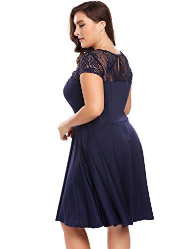 Womens Plus Size Lace Cap Sleeve Fit and Flare Vintage Party Dress - Involand Ladies Floral Lace Side Zip Elegant Tea Dress