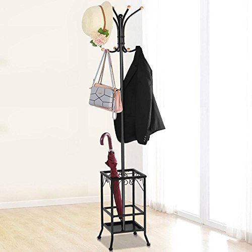 Topeakmart Coat Rack Umbrella Floor Stand Tree Hat Hooks Hangers Metal Black Furniture Home