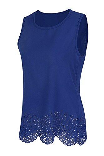 Casual Fluide Chic Manches Classique Sans Top Bleu Chemise Blouse Femme Tenxin RpTYIq