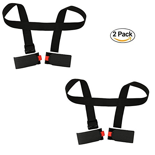 NKTM 2 Packs Portable Double Ski Carrier with Two Velcros for Skiing Enthusiasts Ski Essential Equipment Downhill Skiing Equipment