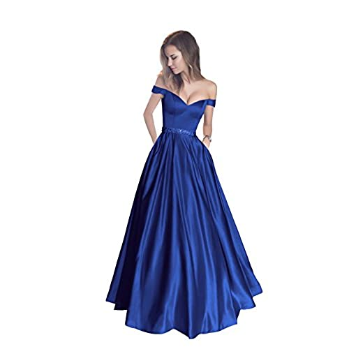 Royal Blue Satin Prom Dress: Amazon.com