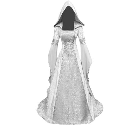 Severkill Medieval Dress for Women Renaissance Lace Up Vintage Gothic Dress Hooded Cosplay Carnival Halloween Party White
