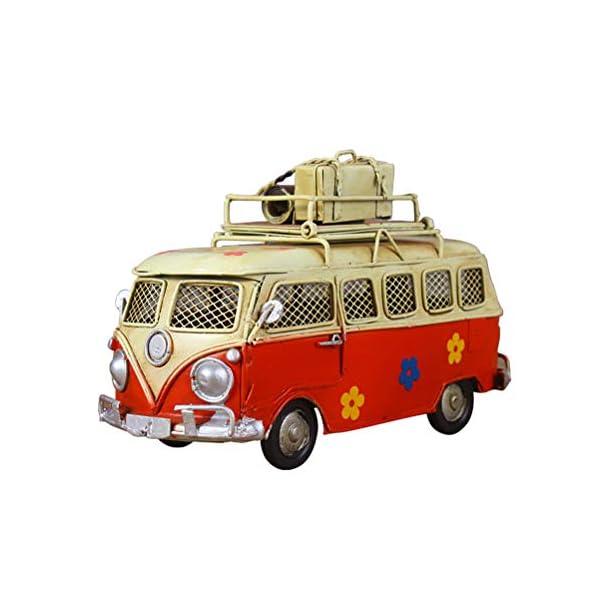 41apl%2B2EUML VOSAREA Eisen Sparschwein Vintage Zinn Bus Kindheit Speicher Metall Kunst Geschenk Home Decoration (rot)