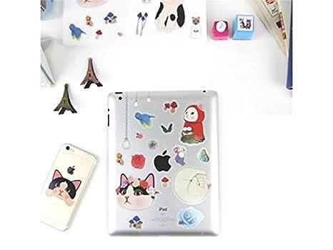 Etiqueta de la Piel del Ordenador portátil 7 Unids Gato de Dibujos Animados Etiqueta Engomada del Teléfono Impreso iPad Notebook Paster Car Bottle Decal ...