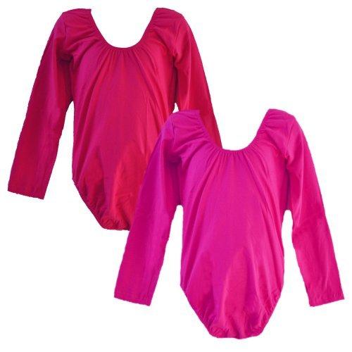 [Loetard Long Sleeve Red & Fushia 2pcs Set - T146RDBU (Medium)] (2pc Child Cheerleader Costumes)