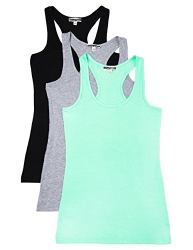 Caramel Cantina 3 Pack Cotton Racerback Tanktop (Large, Black/H.Grey/Mint) ()