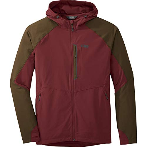 Outdoor Research Men's Ferrosi Hooded Jacket, FireBrick/Carob, L ()