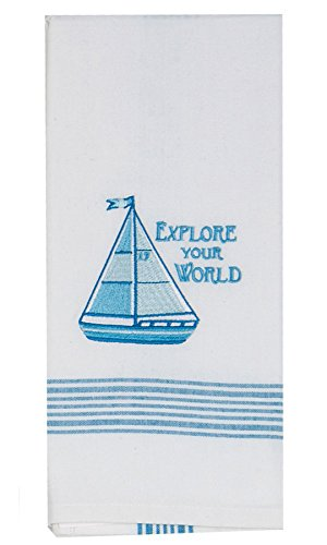 Kay Dee Designs Explore Your World Sailboat Embroidered Tea Towel