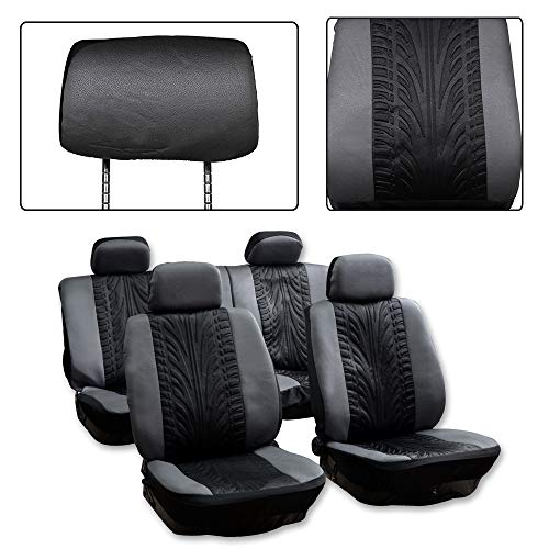ck/Gray Car Seat Cover w/Headrest Covers 8PCS Breathable Embossed Cloth Retractable Auto Seat Cover Replacement for Most Cars ()