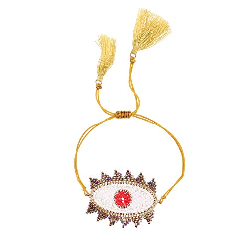 Eye Strand - Nicole Jewelry Miyuki Seed Beads Handmade Big Evil Eye Strand Bracelet (Yellow)