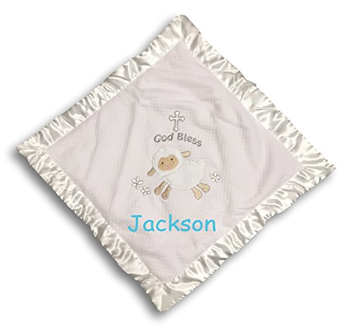 Mary Meyer Personalized Lamb Christening Cozy Blanket - 15 Inches ()
