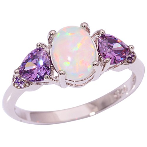 CiNily White Fire Opal Ring-Amethyst Promise Rings for her Rhodium Plated Women Jewelry Gemstone Ring Size 6-11 ()