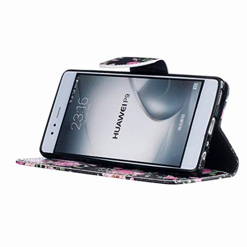Yiizy Huawei P9 EVA-L09 EVA-L19 EVA-L29 Funda, Bright Rose Diseño Solapa Flip Billetera Carcasa Tapa Estuches Premium PU Cuero Cover Cáscara Bumper Protector Slim Piel Shell Case Stand Ranura para Tar