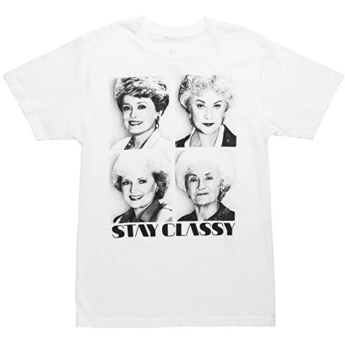 Golden Girls Stay Classy Adult White T-Shirt (X-Large)