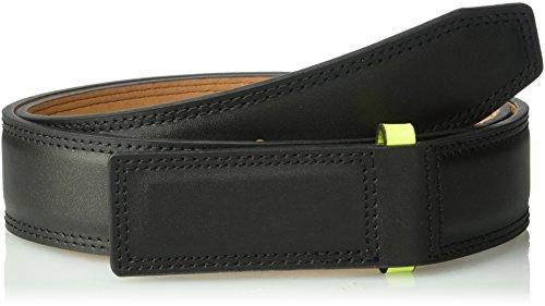 Nike Men's Sleek Modern Covered Plaque Belt, Black/Volt, 34