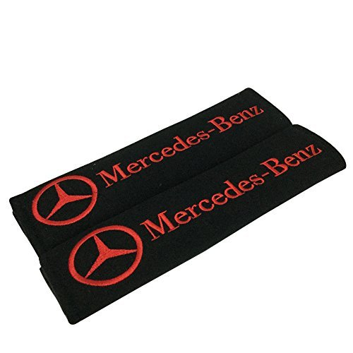 - 1 Pair New Car Seat Belt Shoulder Pads Red Embroidered Red Mercedes Wording Cushion Belt Decoration Fit For (Benz)