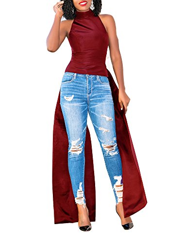 (PerZeal Women's Bodycon T-Shirt Dresses Summer Casual High Neck Sleeveless Top Wine Red)