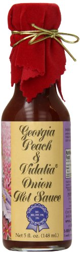 - Pepper's Georgia Peach and Vidalia Onion Hot Sauce with Red Velvet Top, 5 Ounce
