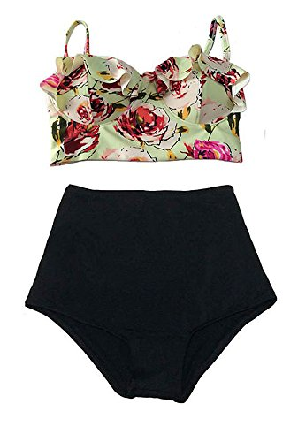 Saslax-Vintage-High-Waist-Floral-Womens-Bikini-Set-Strappy-Push-Up-Bathing-Suit