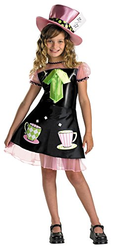 [UHC Girl's Mad Hatter Outfit Fairytale Theme Fancy Dress Kids Halloween Costume, Child (7-8)] (Girl Mad Hatter)
