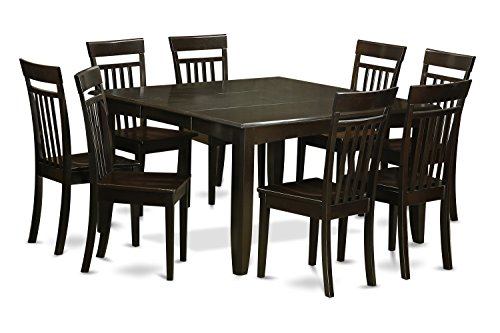 East West Furniture PFCA9-CAP-W 9-Piece Dining Table Set, Cappuccino Finish