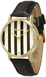 Women's Geneva Striped Leather Watch - Black