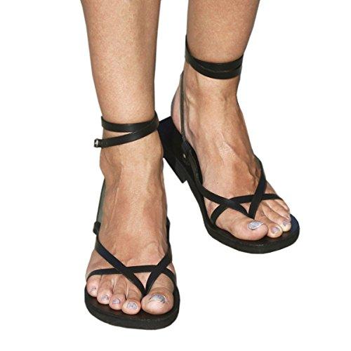 Calpas Håndlagde Unisex, Delikat Og Stilfulle Dobbeltrom Ankel Strap Skinn Sandaler Med Spenne - Sol