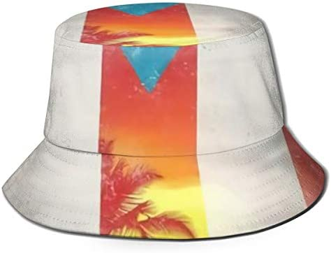 Junkai ノベルティ プエルトリコの旗 ココヤシの木 バケットハット 男女兼用帽子 UV 翼幅広 紫外線対策 日よけ 小顔効果