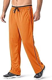 TACVASEN Men's Casual Jogger Athletic Pants Open Bottom Mesh Sweatpants with Poc