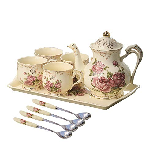 YOLIFE Red Rose Ivory Ceramic Tea Set,Vintage Tea Set With Teapot,Pretty Tea set Service for 4 ()