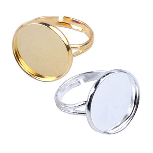 (Jdesun 20 Pieces Ring Blanks with 16mm Adjustable Ring Bases, Metal Round Finger Ring Trays, Gold and Silver Plated)