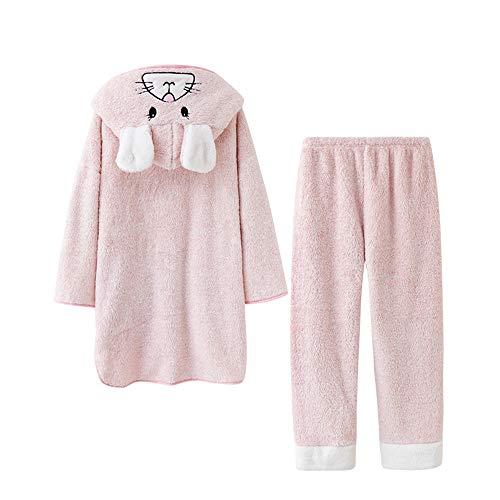 Traje Engrosamiento Coral Mujer Otoño De Mmllse Invierno Larga Animados Pink Terciopelo E Lindo Pijamas Dibujos Manga 1tXqP