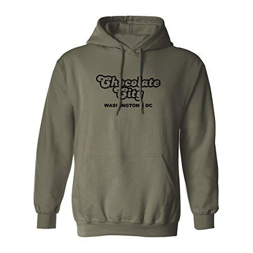 Chocolate City Washington DC Adult Hooded Sweatshirt - Military Green - XXXX-Large