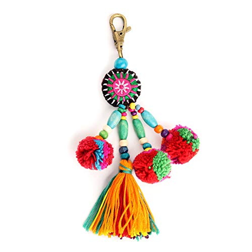 QTMY Cute Pom Pom Tassel Boho Bag Charm Pendant Keyring Keychain for Women Purse Handbag Decor