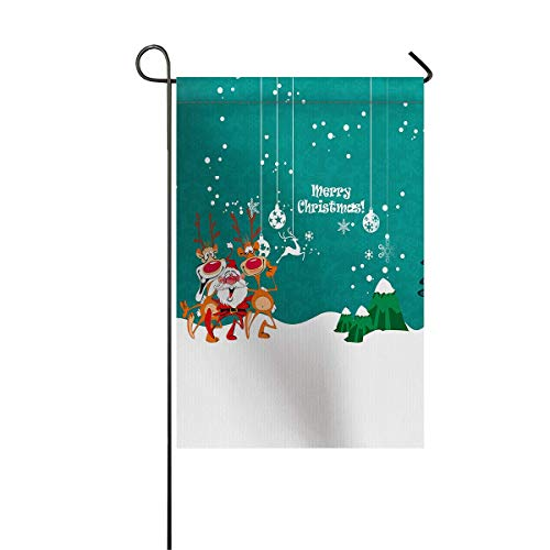 Celebrating Reindeer - zhurunshangmaoGYS Garden Flag House Banner Decorative Flag Home Outdoor Valentine, Christmas Santa and Reindeer Celebrating Party Decorations Welcome Holiday Yard Flag 12 x 18inch