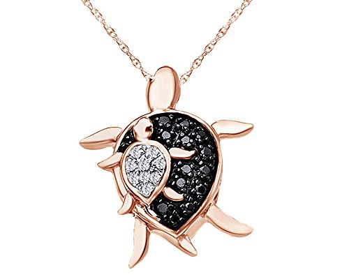 Round Cut Black & White Natural Diamond Mother Turtle and Turtle Pendant in 10K Solid Rose ()