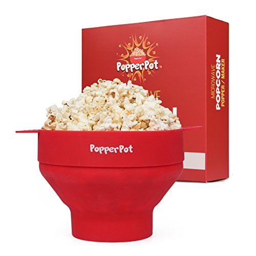 Popper Pot – Microwave Popcorn Maker – Collapsible for Easy Storage – Popcorn Popper with Handles & Lid – Made from BPA & PVC Free Silicone – Healthy Popcorns Ready in 3 minutes (Pvc Pot)