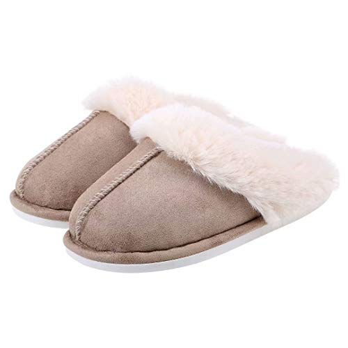 ZriEy Womens Suede Comfy Slippers Memory Foam Fluffy Warm Non-Slip Comfortable Slip-on House Shoes